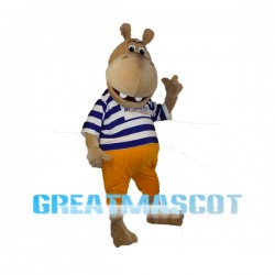 Pleased Brown Hippo Mascot Costume