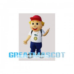 Golden Hair Boy Carrying Bag Mascot Costume