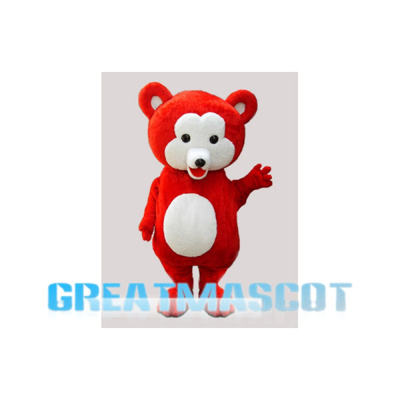 Small Red & White Bear Mascot Costume