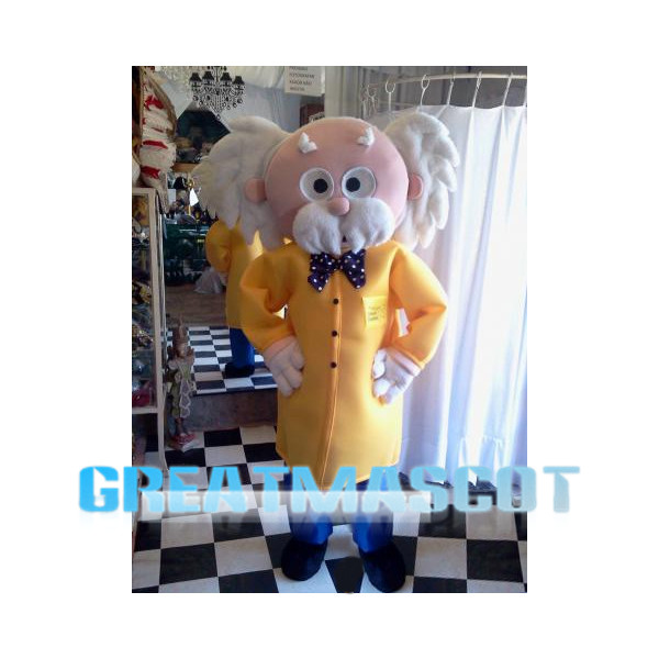 White Hair Scientist Mascot Costume