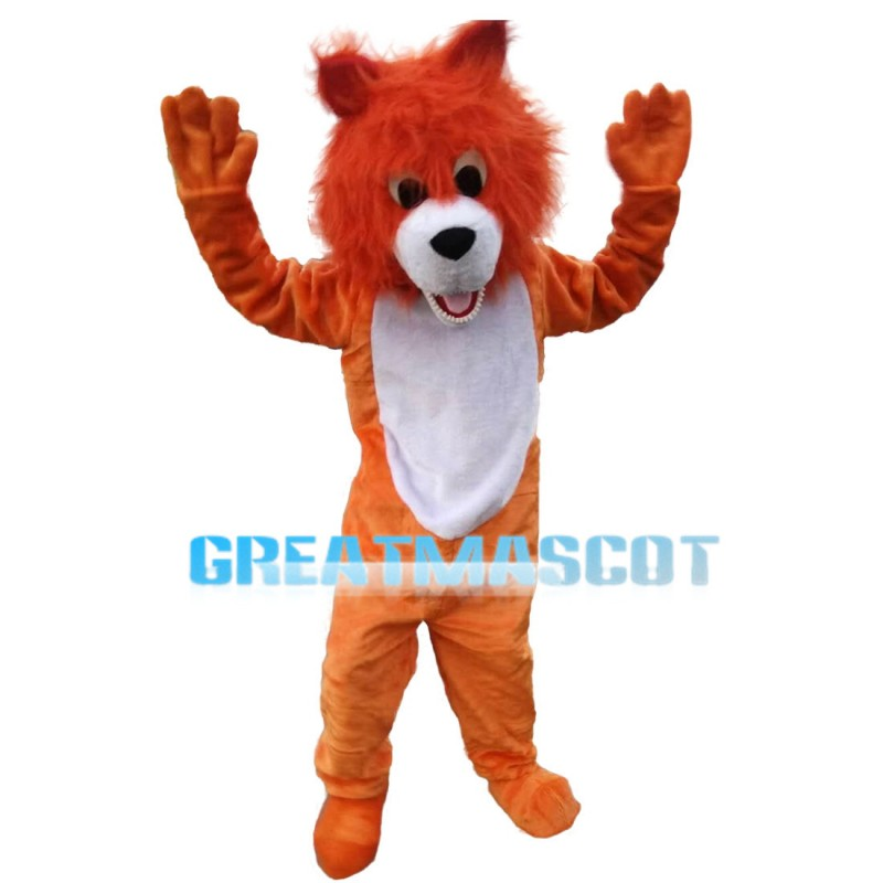 Likable Cartoon Little Orange Lion Mascot Costume