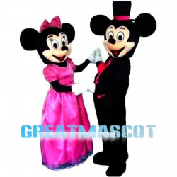 Mickey Minnie With Dinner Dress Mascot Costume