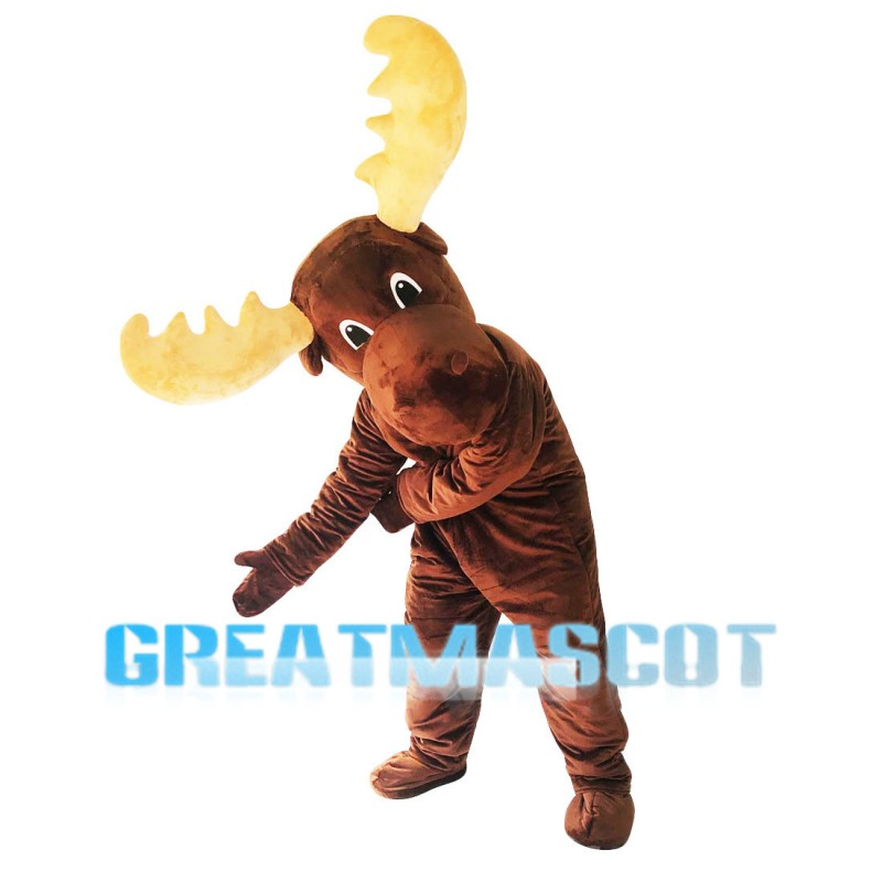 Brown Moose With Yellow Antlers Mascot Costume