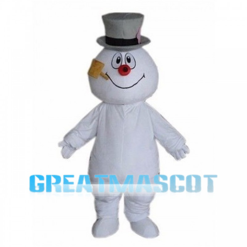 Snowman With Grey Hat Mascot Costume