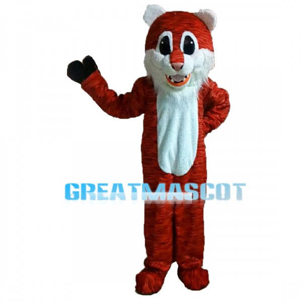 Friendly Greeting Old Tiger Mascot Costume