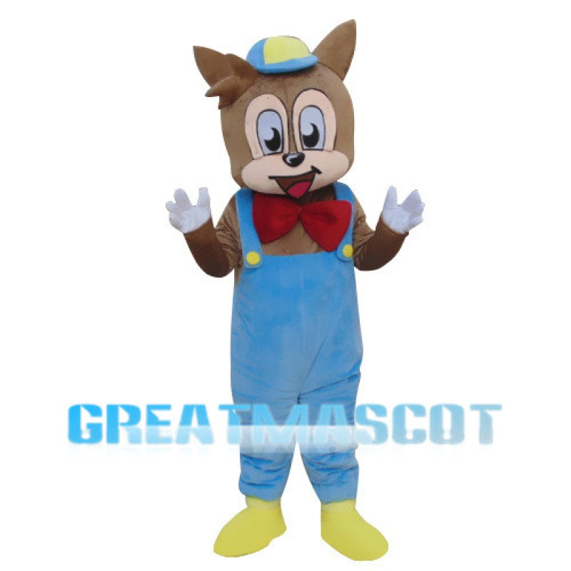Little Squirrel Wearing Blue Overalls Mascot Costume