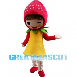 Faceless Strawberry Girl Mascot Costume