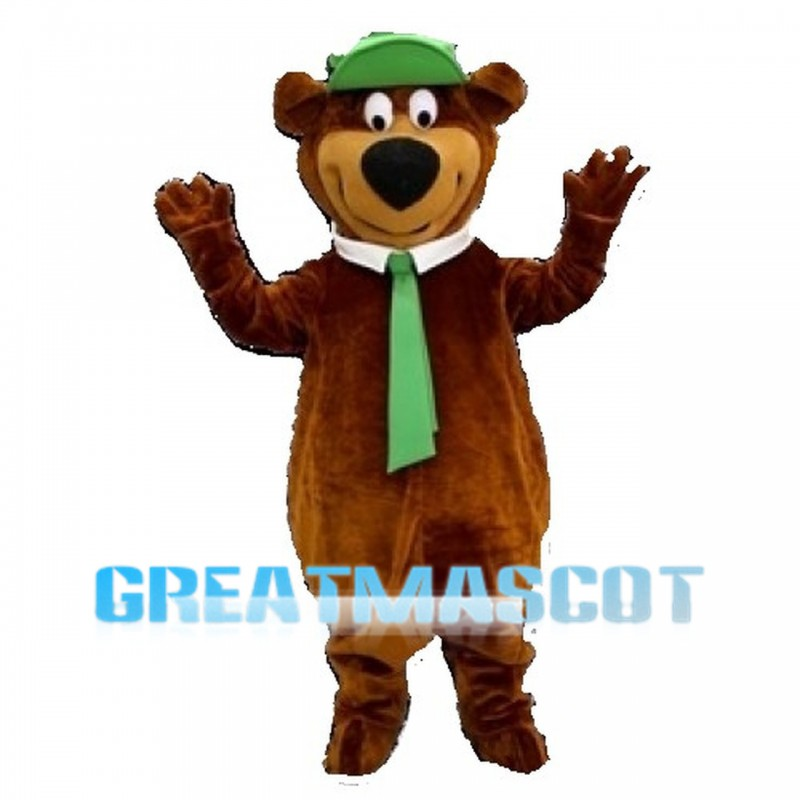 Happy Brown Bear With Green Tie And Cap Mascot Costume