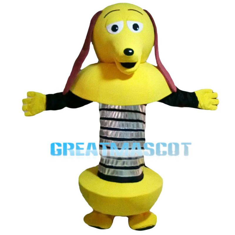 Yellow Spring Dog With Long Brown Ears Mascot Costume