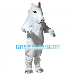 Beautiful White Horse With Silver Horn Mascot Costume