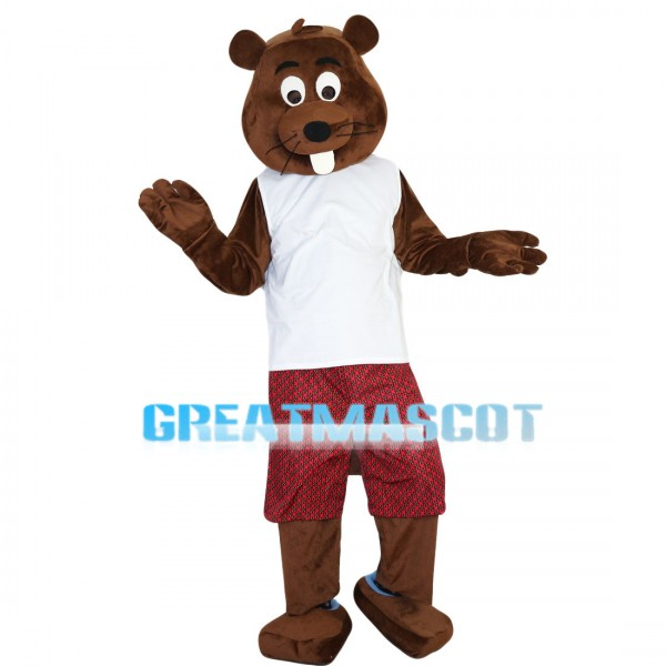 Brown Beaver With White Vest Mascot Costume
