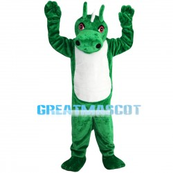 Green & White Dragon With Red Eyes Mascot Costume