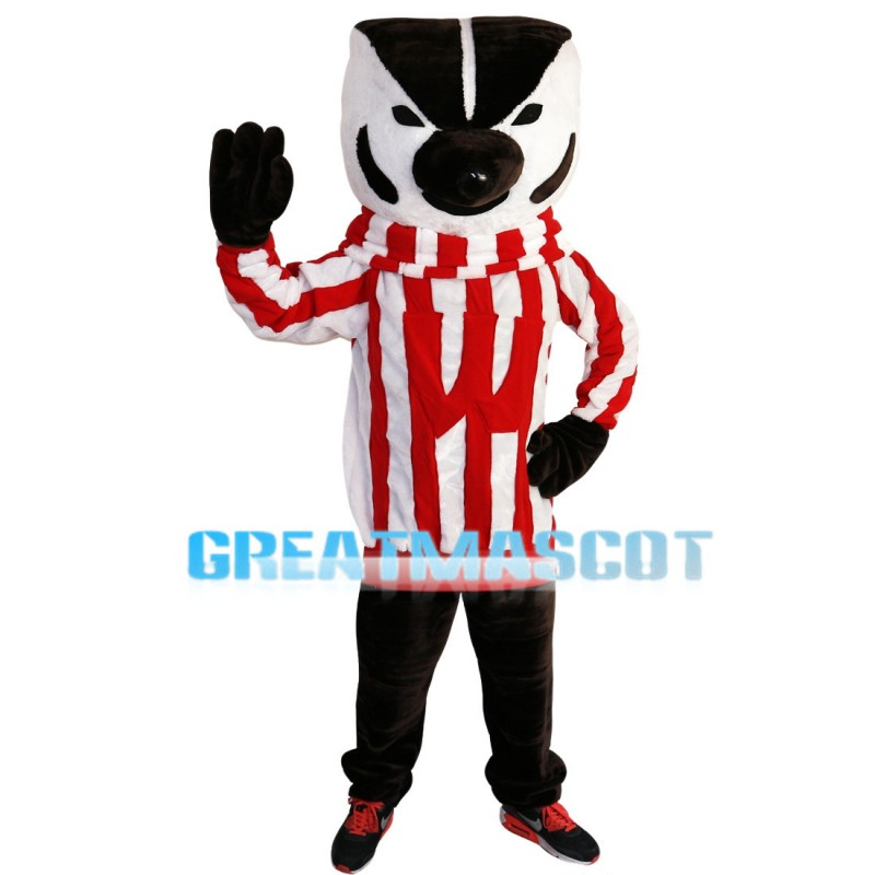 Lively Skunk With Striped Top Mascot Costume