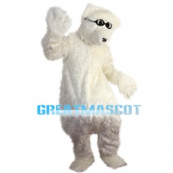 Smart Polar Bear With Black Glasses Mascot Costume