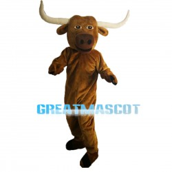 Hardworking Bull With Long Horns Mascot Costume