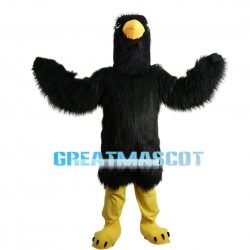 Black Long Fur Eagle Mascot Costume