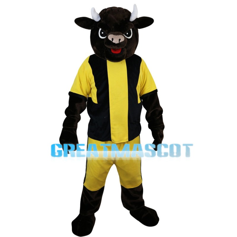 Playing Bull Wearing Sports Set Mascot Costume