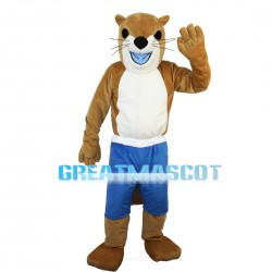 Lively Beaver In Blue Shorts Mascot Costume