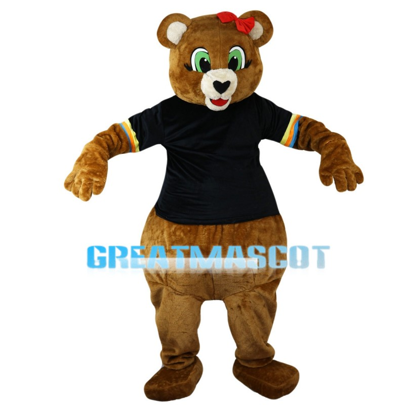 Green Eyes Bear With Pink Bow Mascot Costume