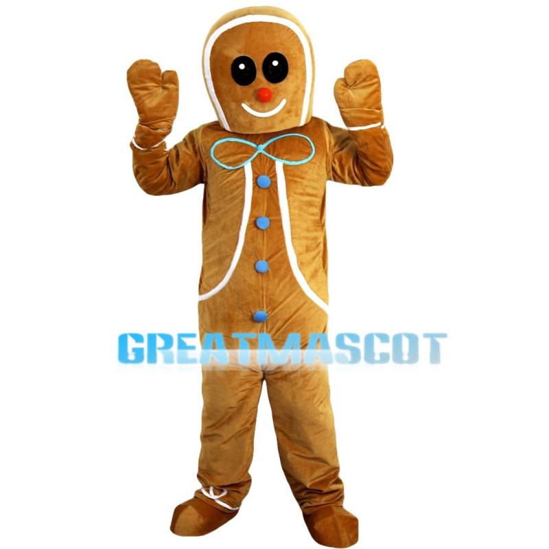 Interesting Breadman With Blue Buttons Mascot Costume