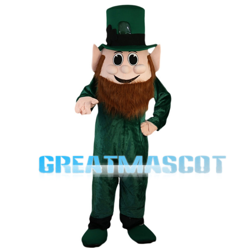 Brown Beard Green Elf Mascot Costume