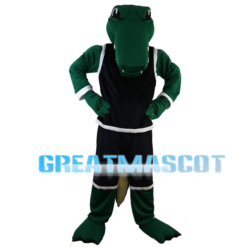 Green Crocodile With Black Sports Set Mascot Costume