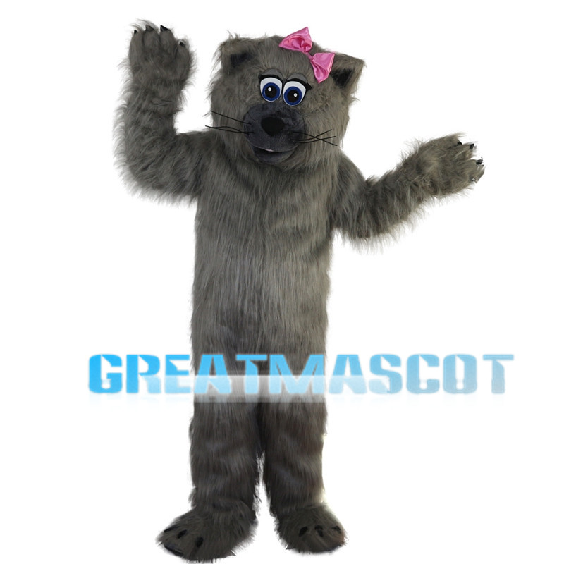 Grey Beaver With Pink Bow Mascot Costume