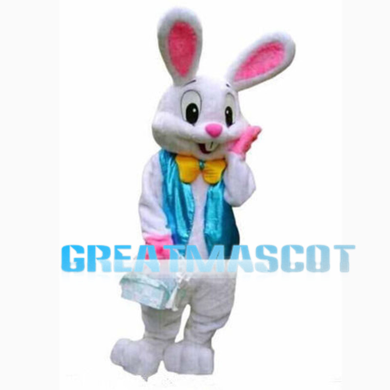 Coy White Rabbit With Blue Vest Mascot Costume