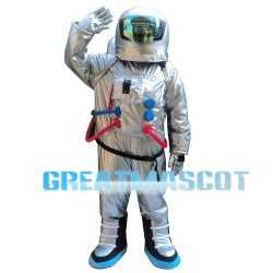 Waving Astronaut Wearing Space Suit Mascot Costume