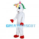 Red Hoofs Horse With Colorful Horn Mascot Costume