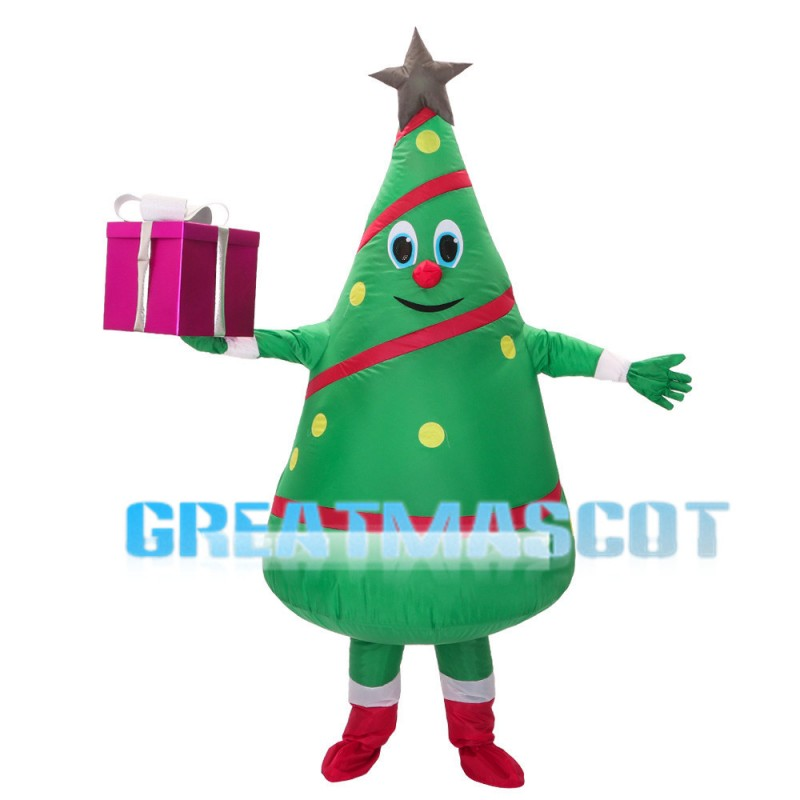 Christmas Tree Holding Gift Box Mascot Costume
