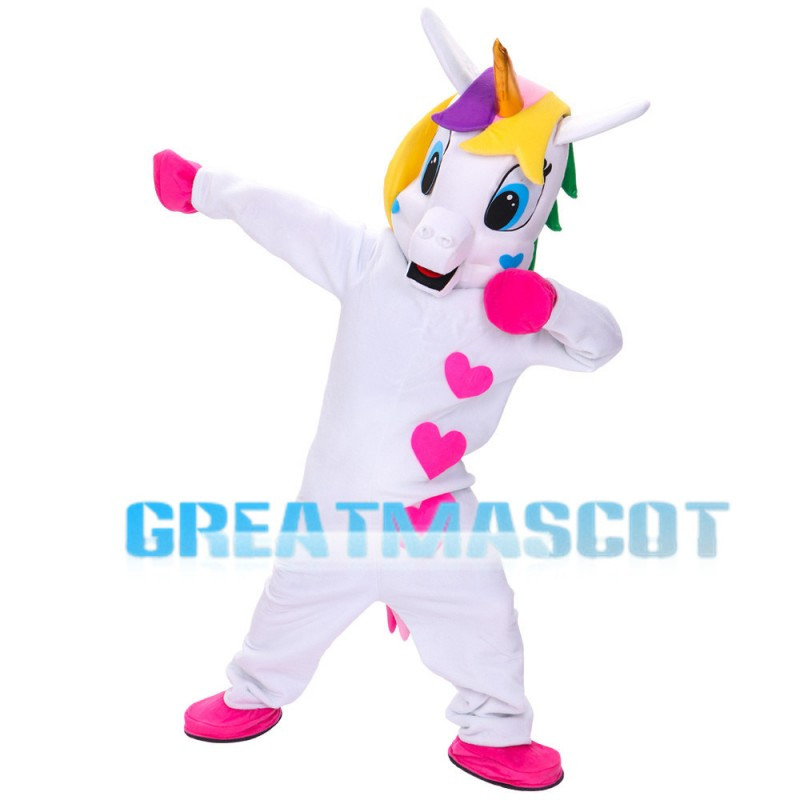 Lively Unicorn With Three Hearts Mascot Costume