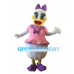 Blue Eyes Donald Duck With Pink Dress Mascot Costume
