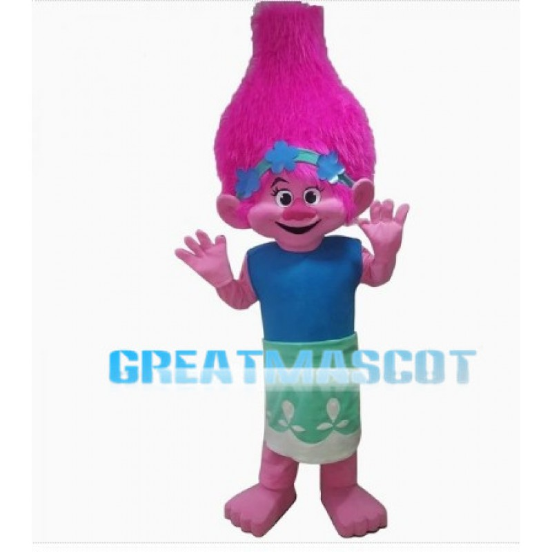 Active Poppy Princess With Pink Hair Mascot Costume