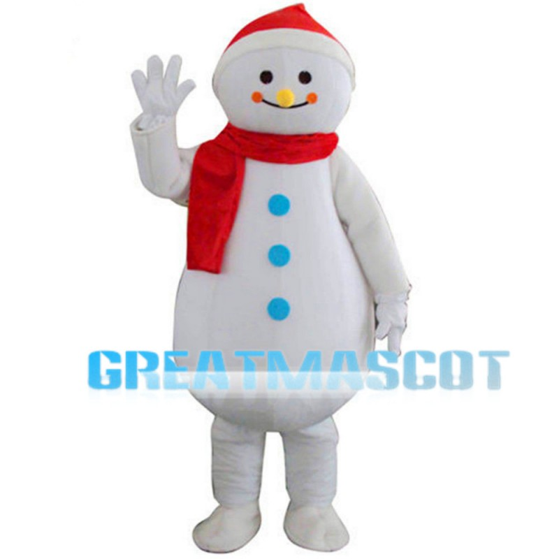 Beckoning Snowman With Red Scarf Mascot Costume