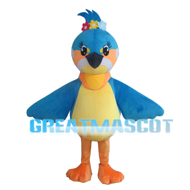Bright Eyes Bird With Colorful Flowers Mascot Costume