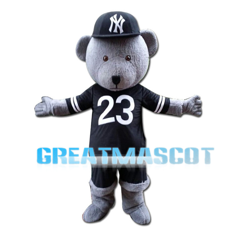 Lively Gray Bear With Jersey Mascot Costume