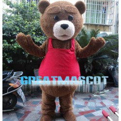 Brown Bear With Red Vest Mascot Costume