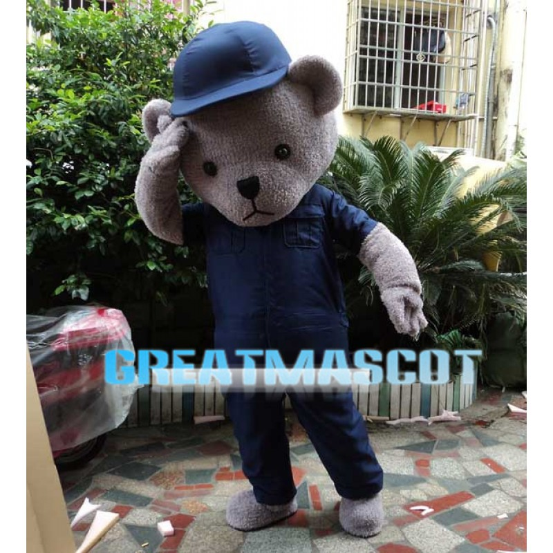 Grey Bear With Blue Set Mascot Costume