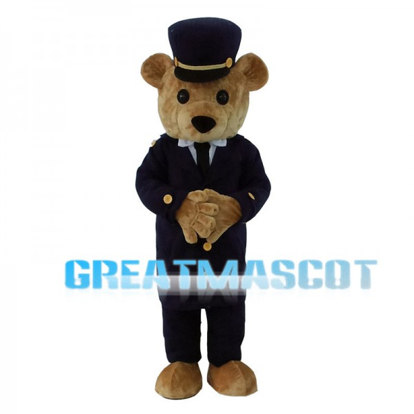 Brown Bear With Black Suit And Hat Mascot Costume
