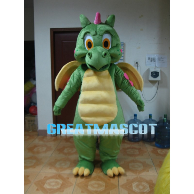 Powerful Dragon With Yellow Wings Mascot Costume