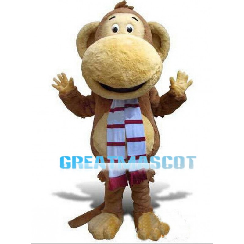 Big Mouth Monkey With Scarf Mascot Costume