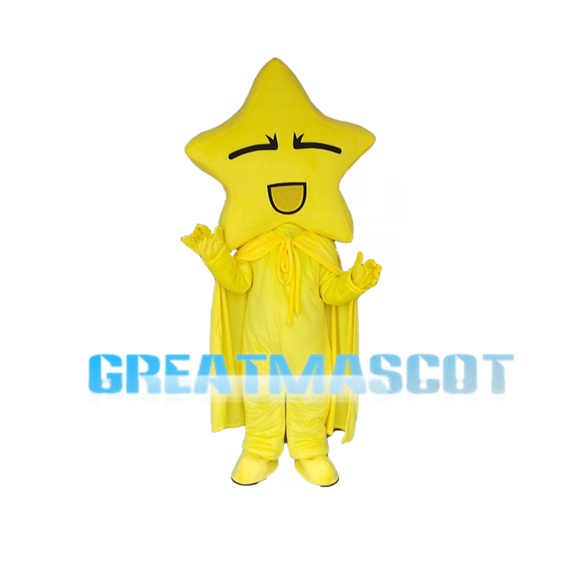 Star Shaped Head Yellow Doll Mascot Costume