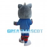 Grey Squirrel With Blue Sports Set Mascot Costume