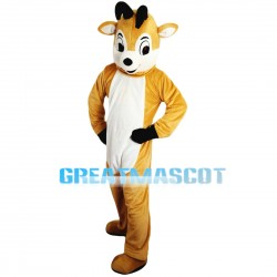 Clever Light Brown & White Fawn Mascot Costume