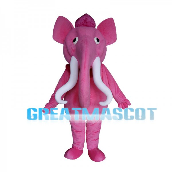 Pink Elephant With Long Curved Ivory Mascot Costume