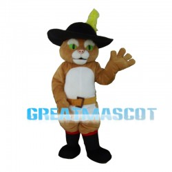 Green Eyes Cat With Boots Mascot Costume