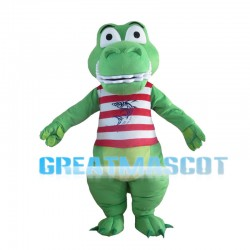 Green Crocodile With Striped Vest Mascot Costume