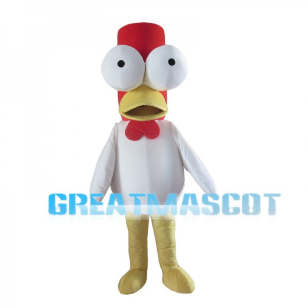 Long Head White Chicken With Protruding Eyes Mascot Costume