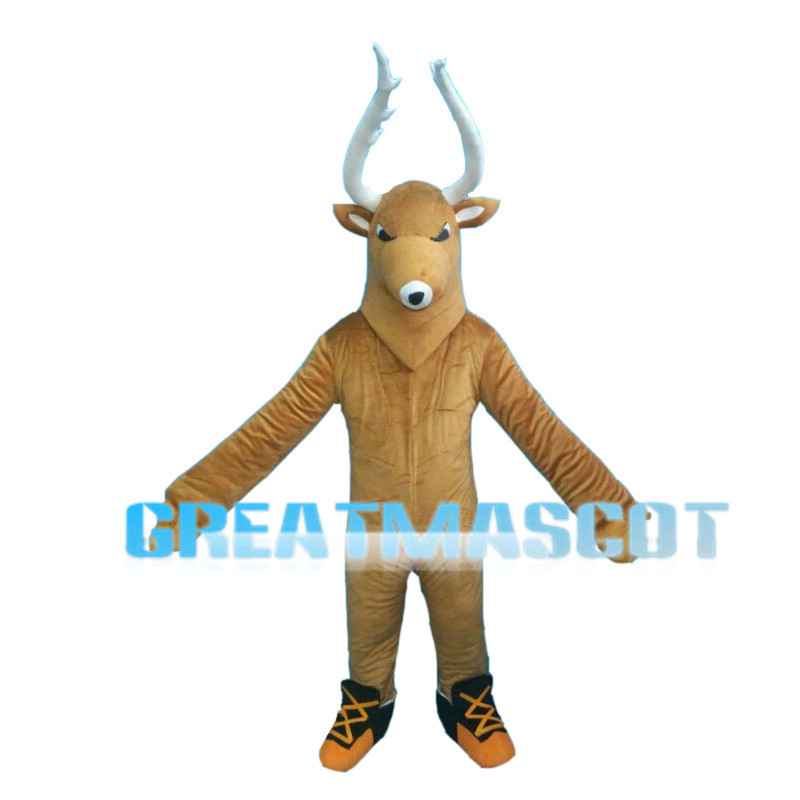 Brown Reindeer With White Antlers Mascot Costume